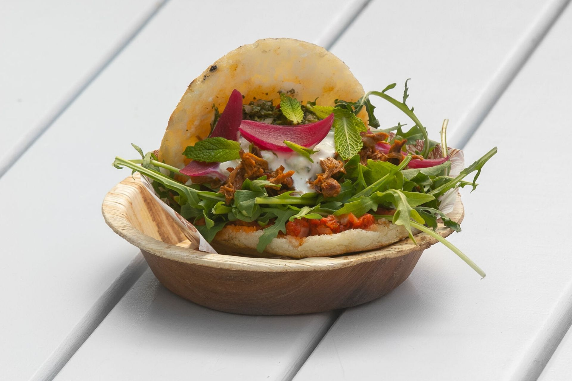 Arepa from Mar and Tierra at Auckland Fish Market