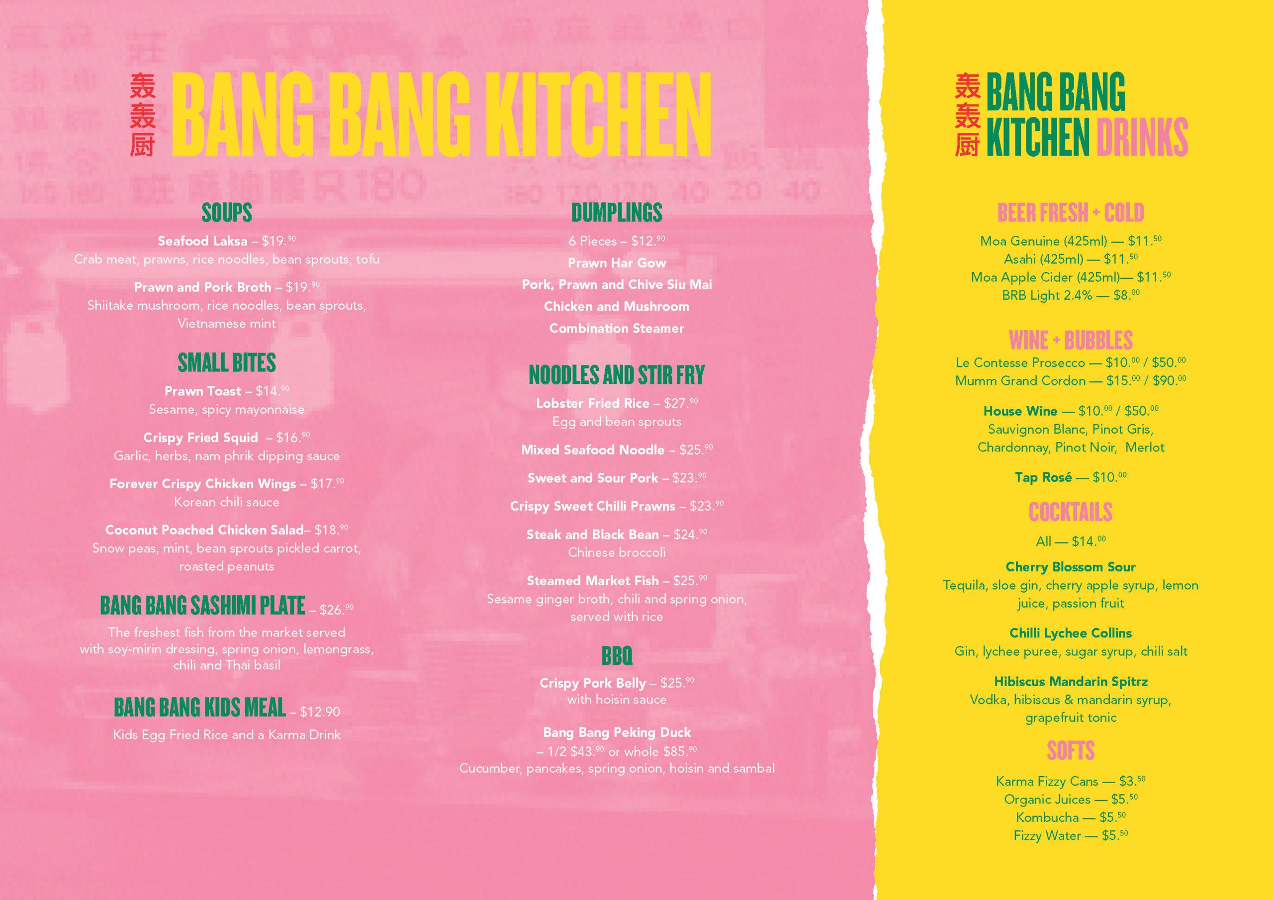 Bang Bang Kitchen menu