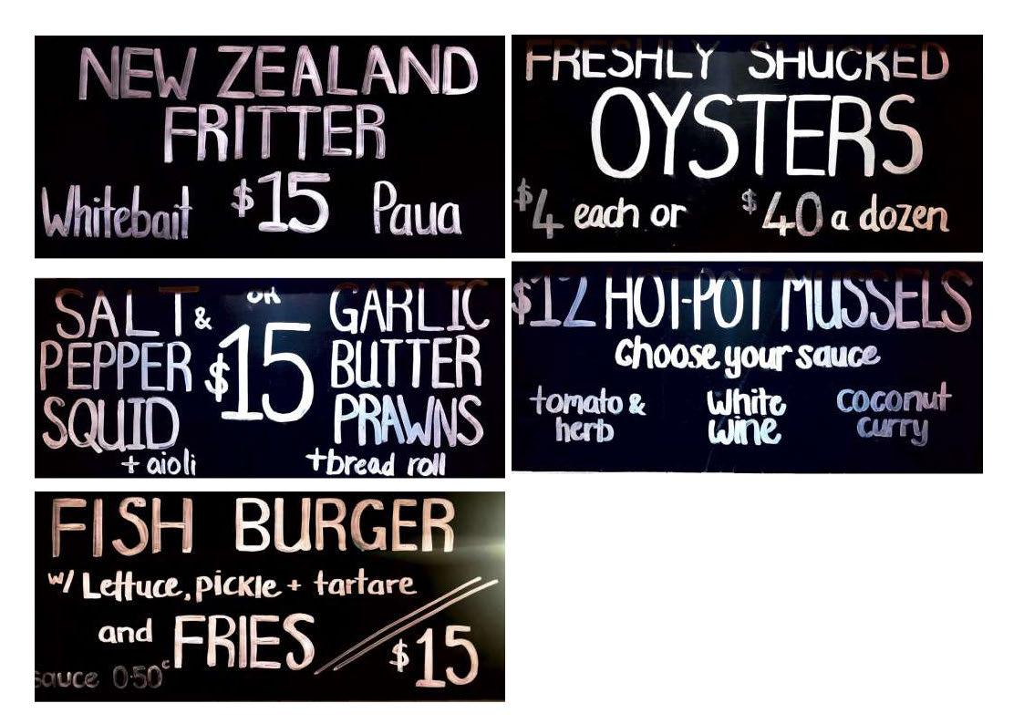 Billypot menu