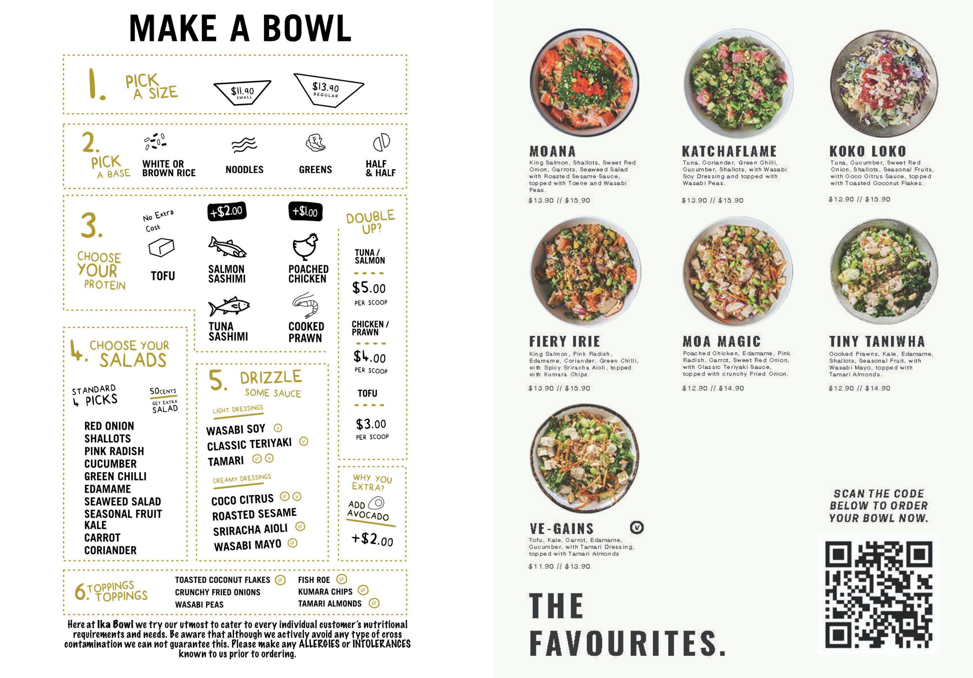 IkaBowl website menu