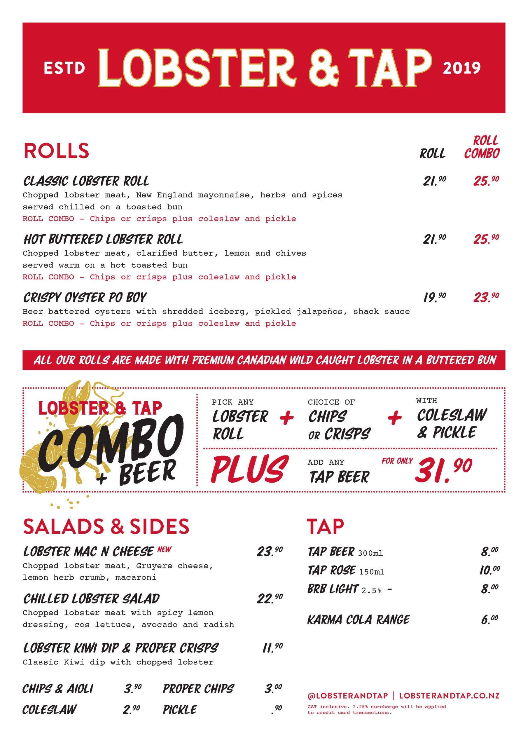 Lobster and Tap menu