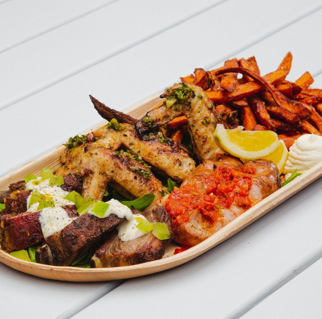 Mar and Tierra Platter - Chorizo, lamb ribs, chicken wings and kumara chips