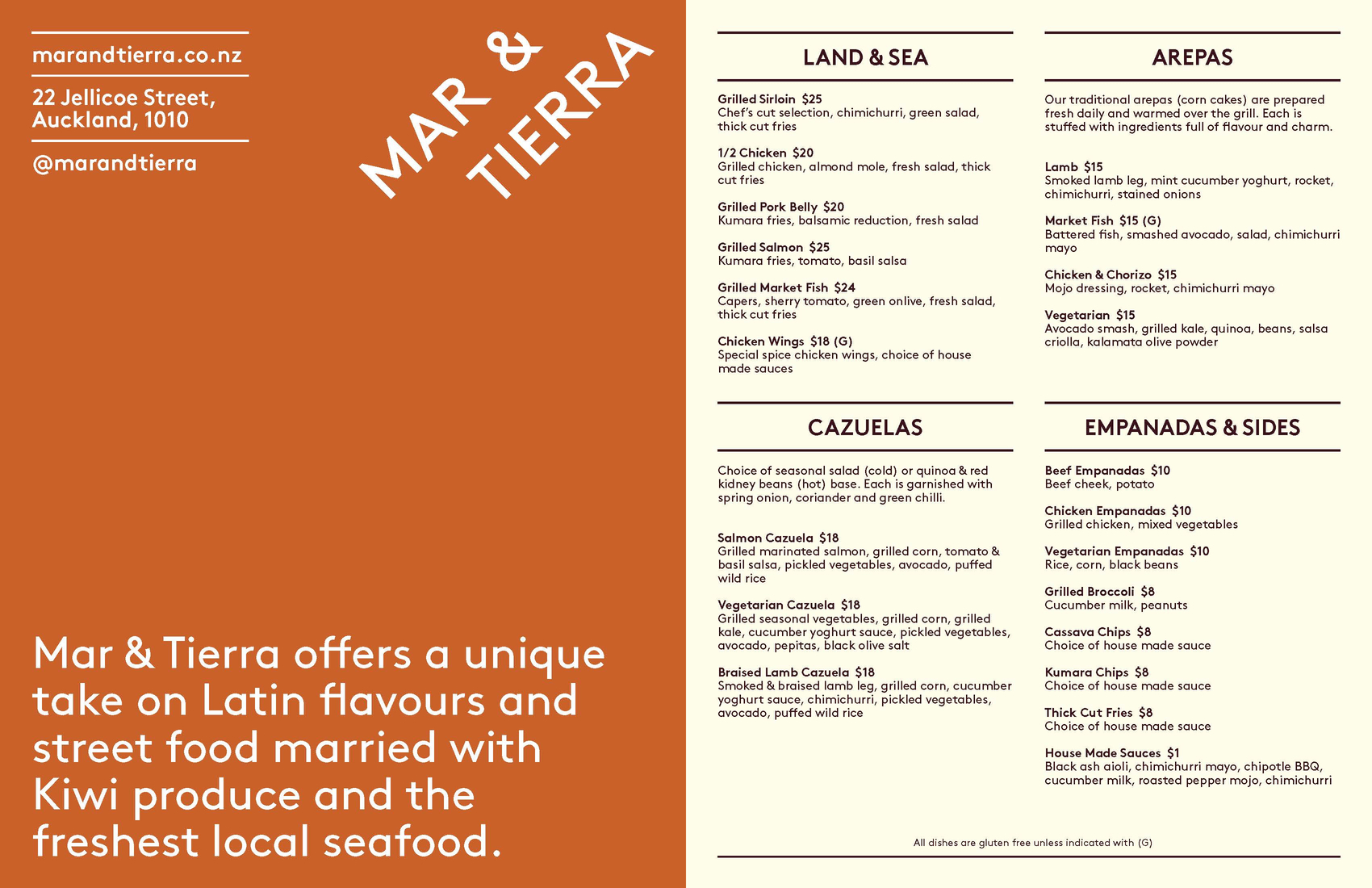 Mar and Tierra menu