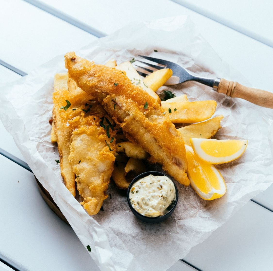 Market Galley famous fish and chips with lemon and tartare sauce