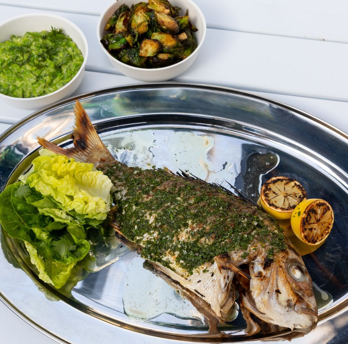 Market Galley whole grilled fish - GRILLED ITEMS SERVED with LEMON HERB & GARLIC BUTTER, HOUSE SALAD OR CHIPS