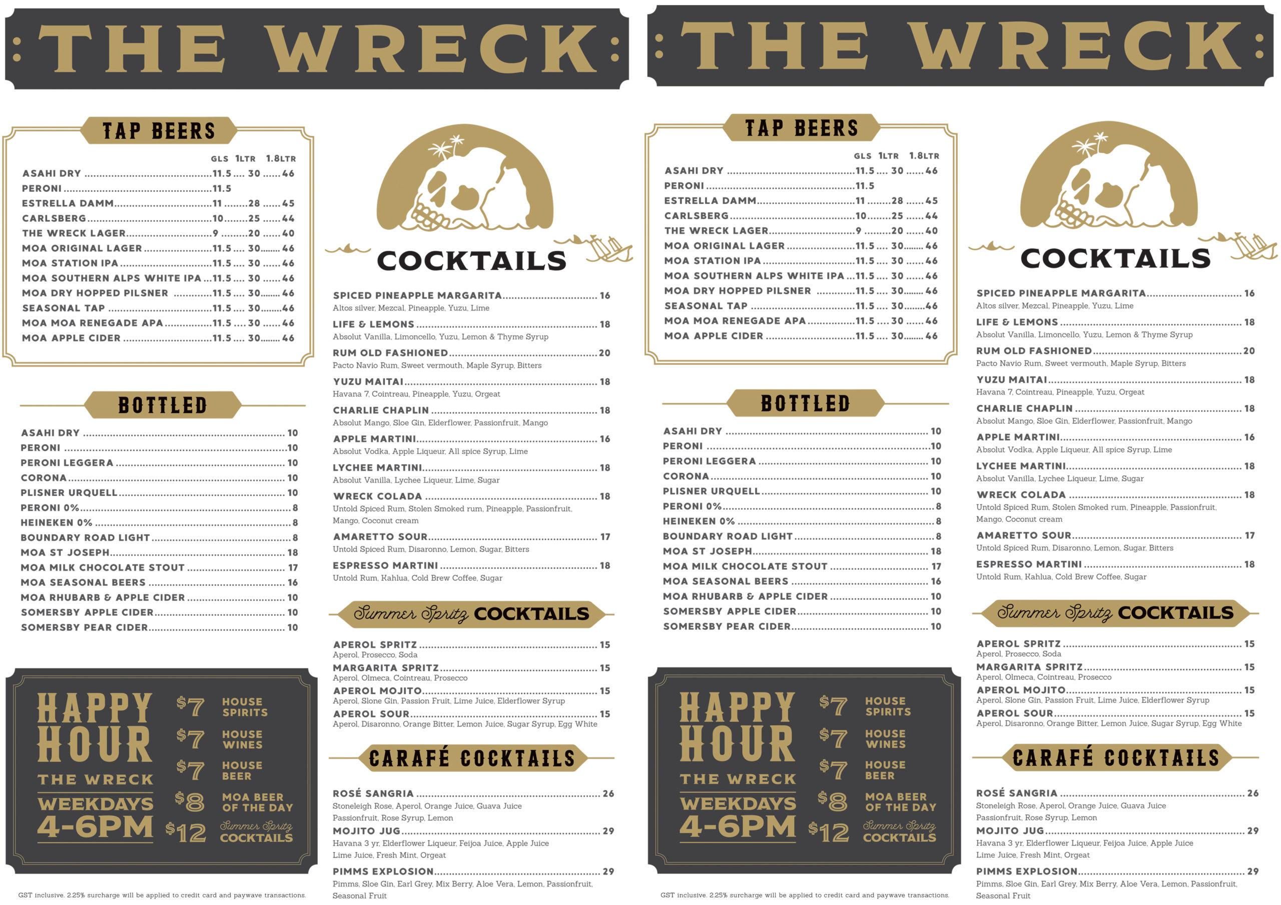 The Wreck Bar Menu