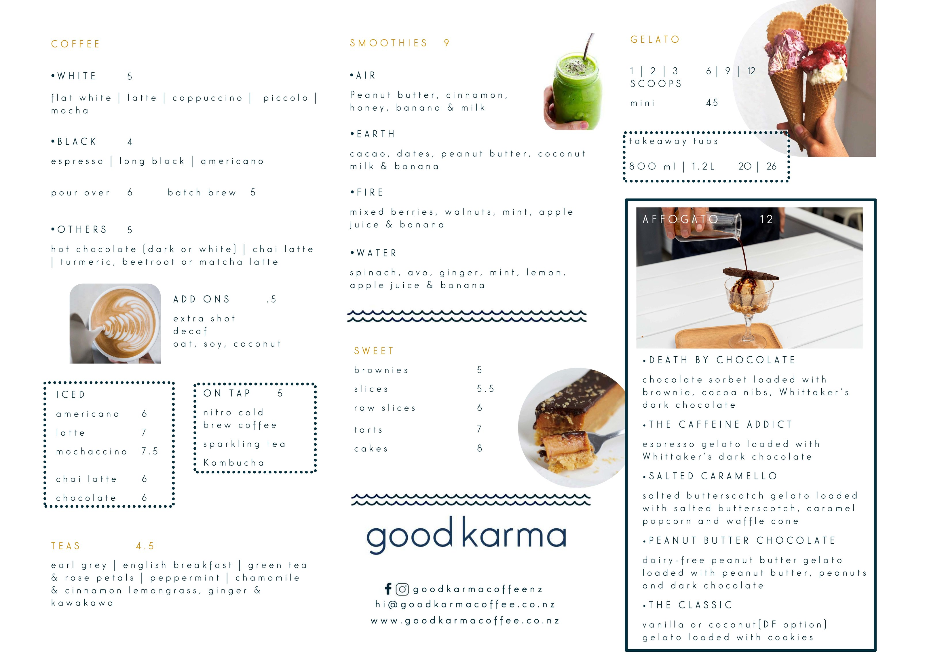 Good Karma and Little Lato at Auckland Fish Market menu